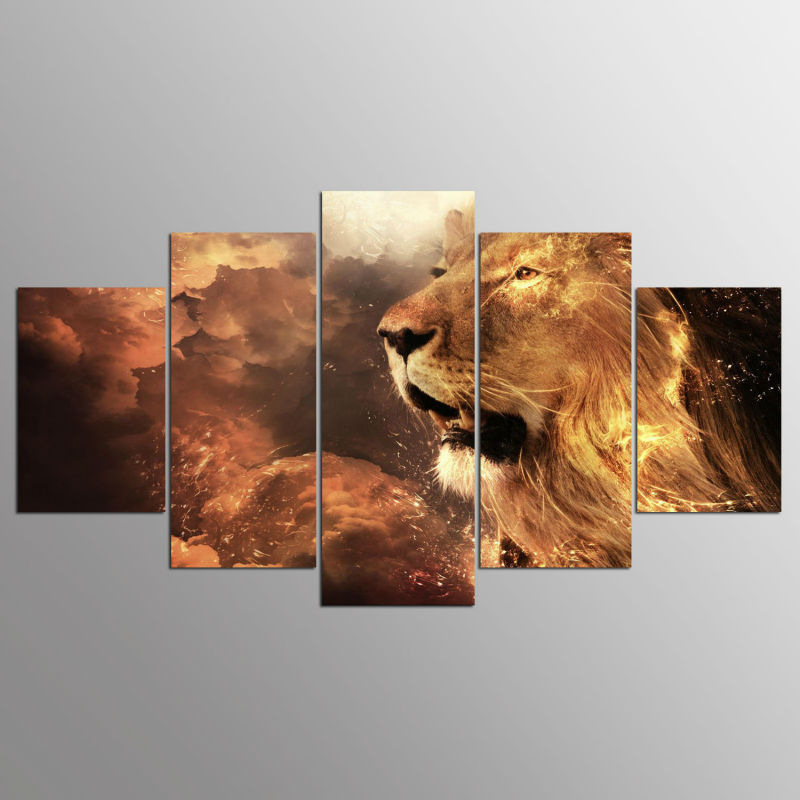 5 panel Modern Art lion imprimir lienzo arte de la pared enmarcado ...