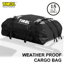 TIROL Waterproof Roof Top Carrier Huge Storage Cargo Luggage Travel Bag (15 Cubic Feet) For Vehicle SUV With Roof Rails T24528b