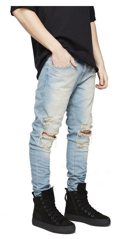 3cea07f7a7 Caliente moda de hombre Pantalones vaqueros Denim Stretch pantalones rotos  de Freyed Slim Fit pantalones vaqueros agujero lápiz pantalones de los  hombres