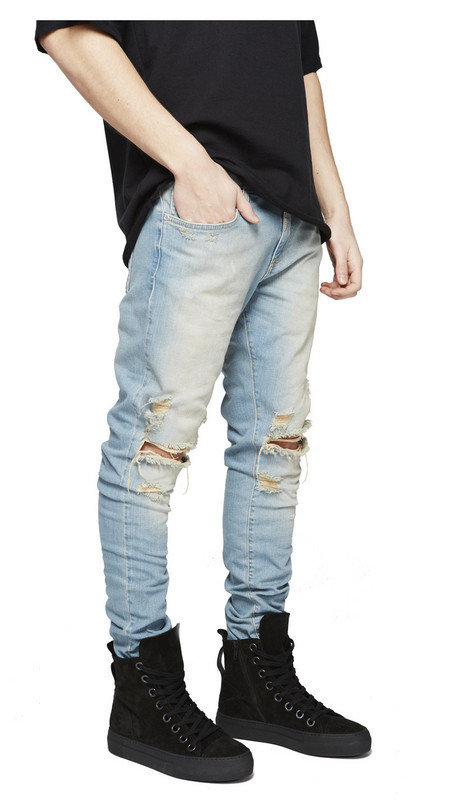 Hot Fashion Mens   Jeans   Skinny Stretch Denim Pants Distressed Ripped Freyed Slim Fit   Jeans   Trousers Hole Pencil Pants Boy Men