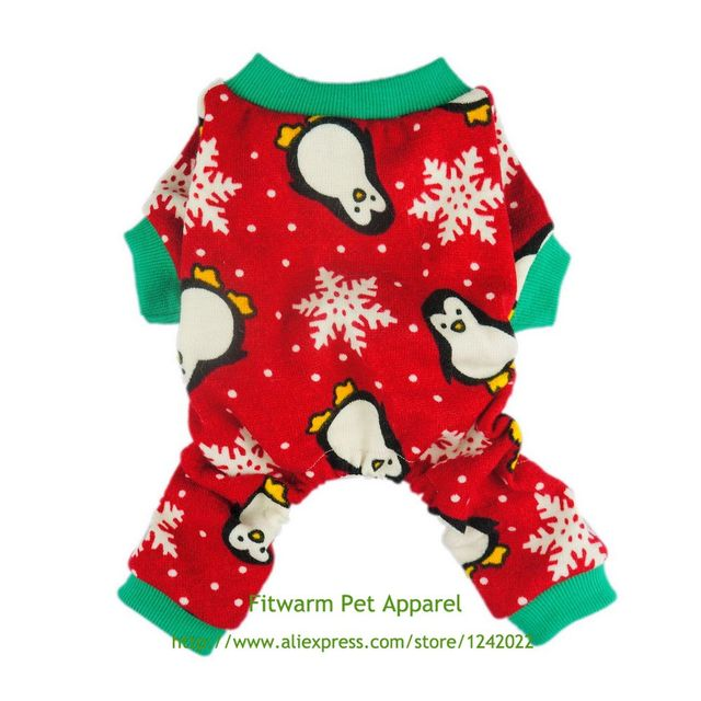 Christmas Pajamas For Dog.Us 11 99 Fitwarm Cute Penguin Xmas Pet Clothes For Dog Pajamas Soft Christmas Pjs Red Free Shipping Xs Small Medium Large Chihuahua Teddy In