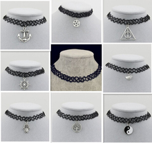 Fishing Line weave tattoo choker necklace gift for women lovers black choker necklace vintage Resin Silver