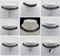 Olta örgü dövme gerdanlık kolye hediye kadınlar için severler siyah gerdanlık kolye vintage Reçine Gümüş altın Renk Kolye