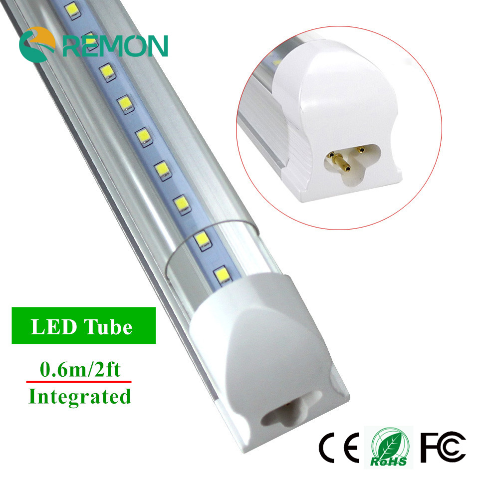 LED T8 Integrated Tube 10w 600mm 110v 220v 85-265v Transparent Clear Cover Milky Cover Free Ship 2ft White/Warm White SMD2835 t8 integrated led tube 5ft 1500mm 24w with accessory completed set easy install milky cover clear cover available high quality