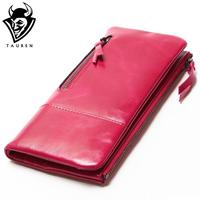 2015 New Women Retro Oil Wax Leather Passport Bag Longer Genuine Leather Cowhide Wallets Female Fashion