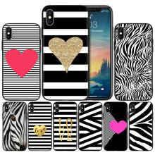 Hitam Putih Zebra Stripe Lembut Anti-Knock Silicone Case Cover For iPhone X XS XR X 11 11Pro Max 7 8 6 6S 5 5S 5 5C Se Plus Cover(China)