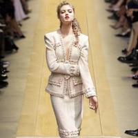 Sexy Deep V Neck Luxury 3D Flower Beading Tweed 2019 Spring Clothing Women Coat Slim Jacket Female Elegant Outerwear ZZ001