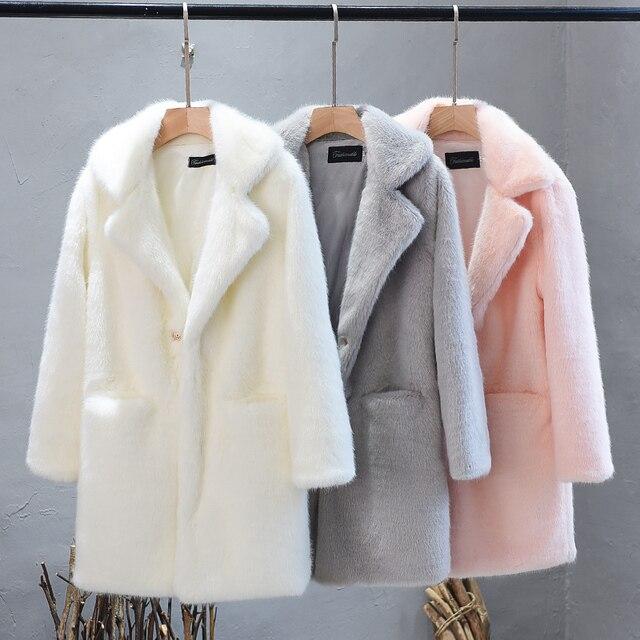 Lmitation vison en peluche fourrure manteau femme 2019 hiver épais haut de gamme Rex lapin cheveux fourrure manteaux grande taille chaud femmes fausse fourrure manteaux