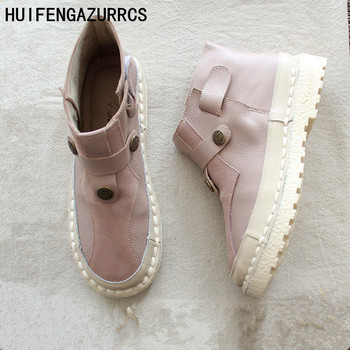 HUIFENGAZURRCS-Original handmade art RETRO boots, women's shoes, sewing belt buckle chic winter warmth boots naked ankle boots