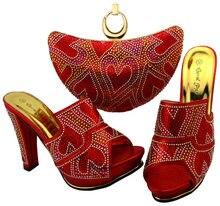 Nuevo Rhinestone de La Llegada Zapatos Y Bolso A Juego Conjunto Italiano Elegante Deslizador de la mujer Bombea Los Zapatos Y Bolsa de Conjunto Para El Partido Colorado BCH-34