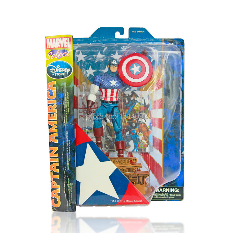 1025cm MARVEL Select Superhero The Avengers Captain America PVC Action Figures Collection Toy Gift CA001 marvel select captain america the winter soldier pvc action figure collectible model toy 7 18cm 2 styles