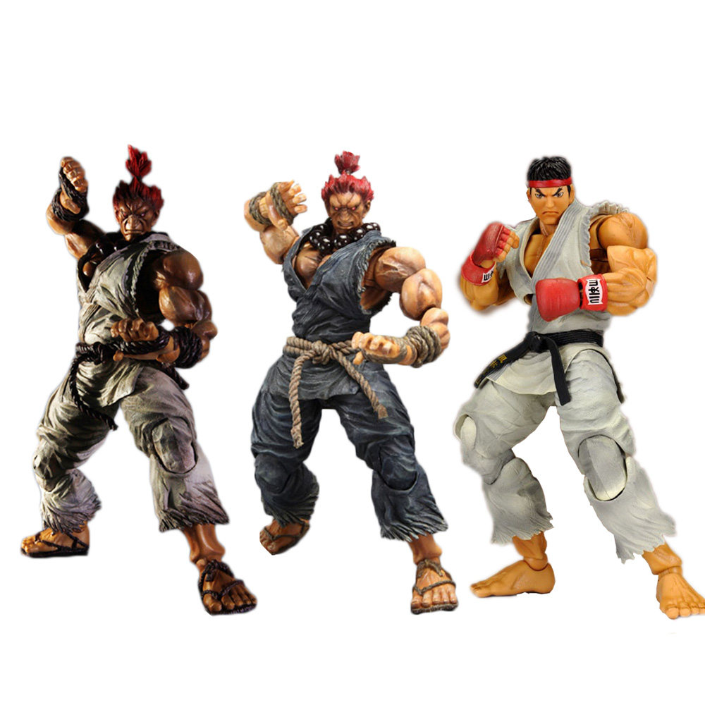 3 Types PLAY ARTS KAI  Player Select Street Fighter IV 4 Gouki Ryu Akuma PVC Action Figure Collectible Model Toy 25cm neca player select 18cm ultra street fighter 4 survival model ken masters ryu guile gouki action figure toy 6 style white black