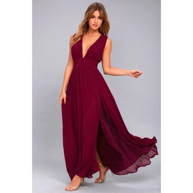 2f450aaef3 Bohemian Dress 2018 Summer New Women s Long Elegant Party Slim Sleeveless  Beach Dress for Female V-Neck Split Cute Style Dresses