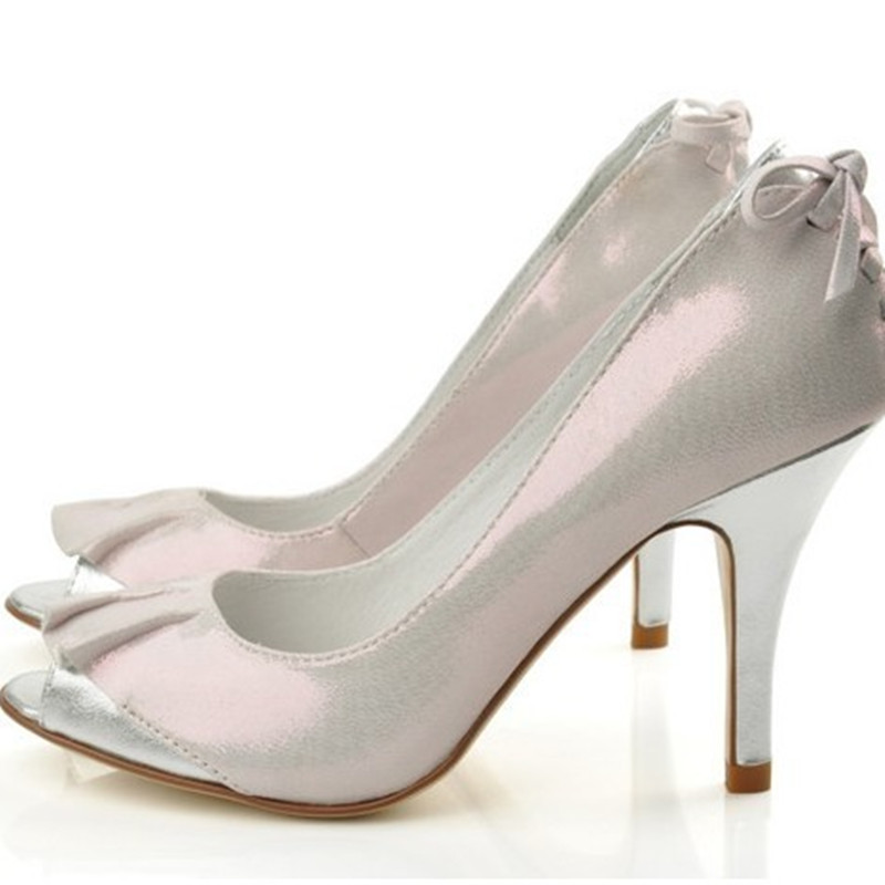 Lady Cow split Bow-Knot Peep Toe Real Genuine Leather Customized Sexy High Heels Shoes Women Pumps Plus size 34-46 Party Wedding enmayer cross tied shoes woman summer pumps plus size 35 46 sexy party wedding shoes high heels peep toe womens pumps shoe