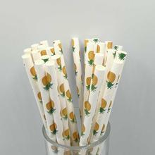 25 шт./лот бумажные соломинки с фруктами для дня рождения, свадьбы, декоративные вечерние креативные питьевые соломинки для торта