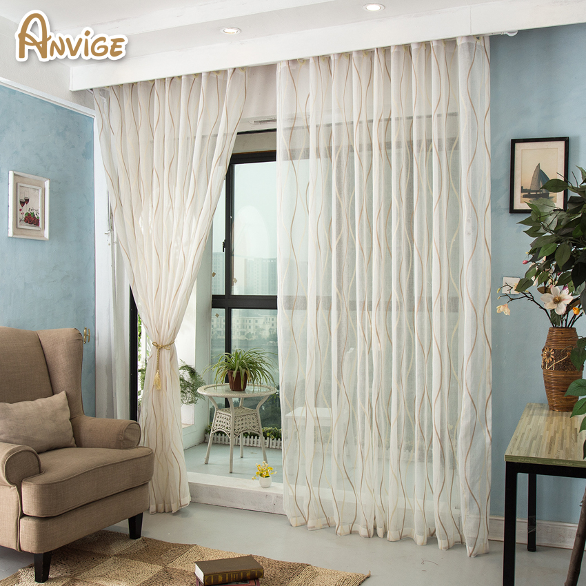 High Window Curtains: Anvige Modern Striped High Quality Tulle/Voile Curtain