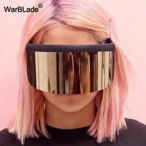 Image 1 - WarBLade חדש גדול חומת Visor משקפי שמש נשים מעצב גדול Goggle מסגרת מראה שמש משקפיים גווני גברים Windproof Eyewear