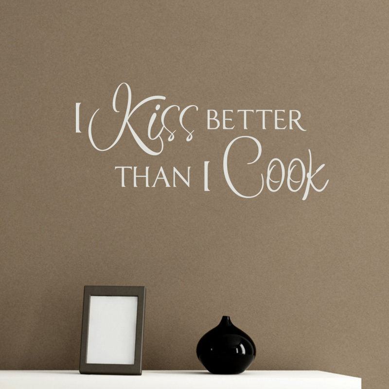 Mix Wholesale Order I Kiss Better Than I Cook Kitchen Wall Sticker Quote Viny Decal Art