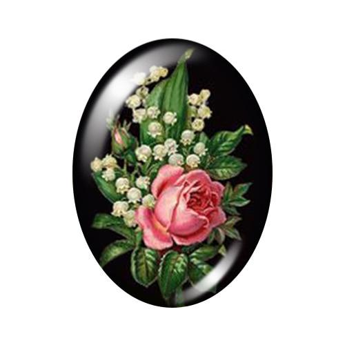 Красивые Винтажные Цветы Роза Маргаритка 10 шт. 13x18 мм/18x25 мм/30x40 мм овальные фото стекло кабошон демонстрационная плоская задняя часть изготовление TB0043 - Цвет: O
