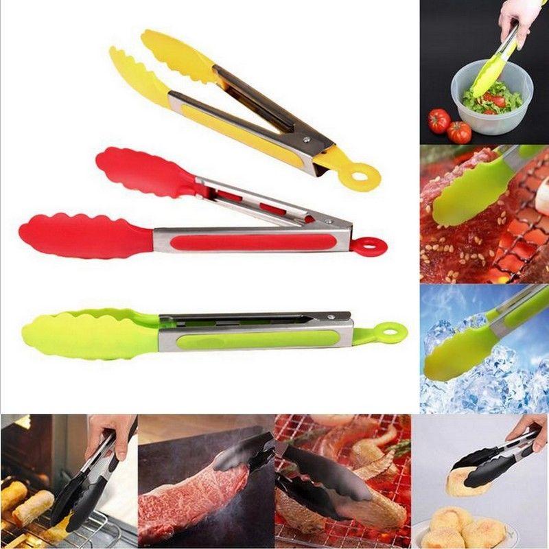 color al azar de silicona barbacoa pinzas de acero inoxidable manejar utensilios de cocina ensalada