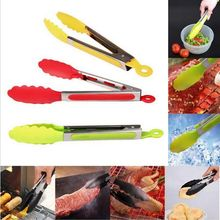 Random Color Silicone Cooking Salad BBQ Tongs Stainless Steel Handle Utensil +B