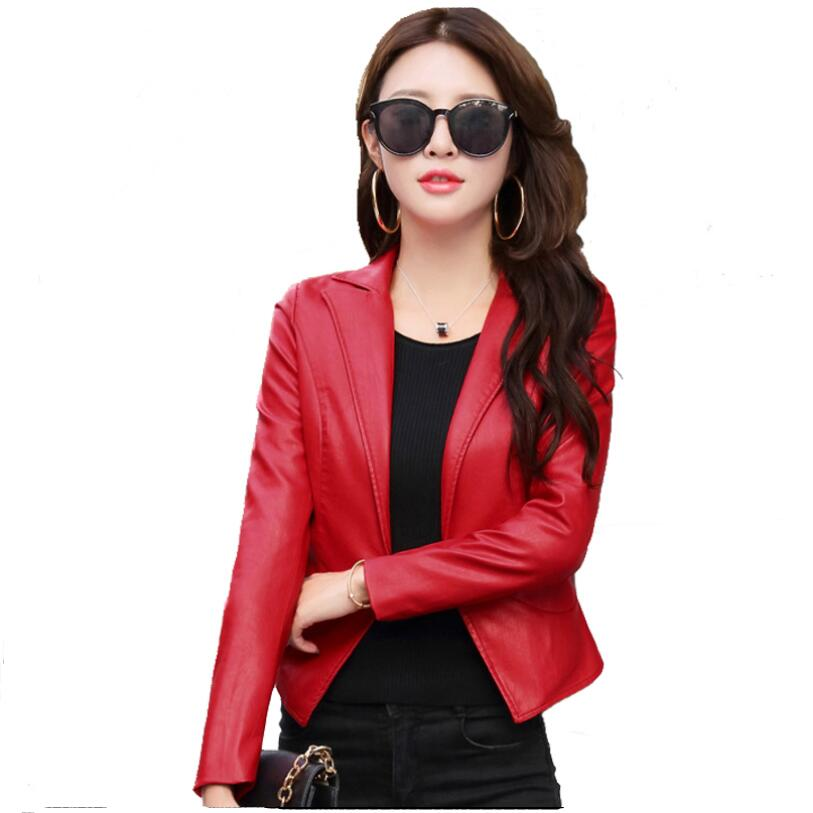 2018 New Fashion Short Suit Leather Jacket Women Spring Autumn Slim Single Button Women Leather Jackets And Coats Small Suit