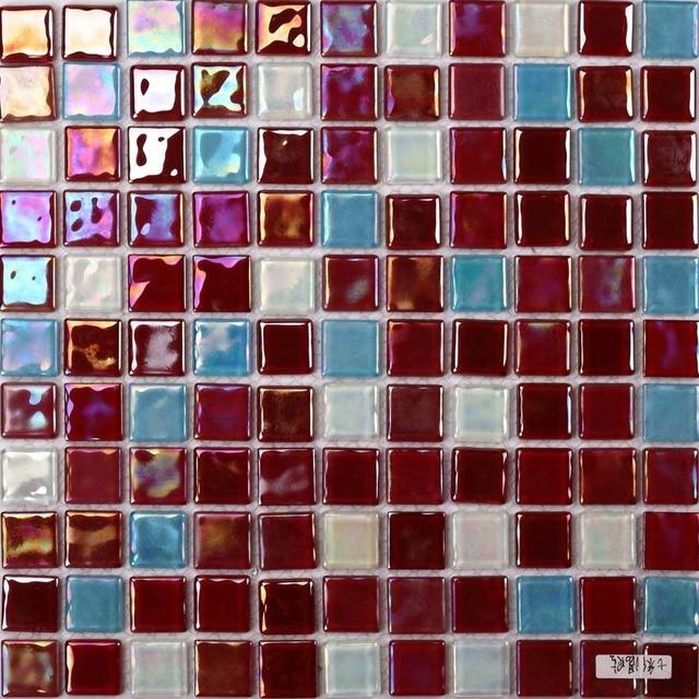Colorato rosso elettrolitica brillante mosaico di vetro quadrato per il bagno doccia piastrelle - Piastrelle di vetro ...
