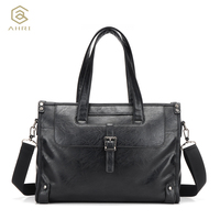 AHRI Men Solid Shoulder Men S Casual Tote Bag Vintage Business Top Handle Bag Fashion For