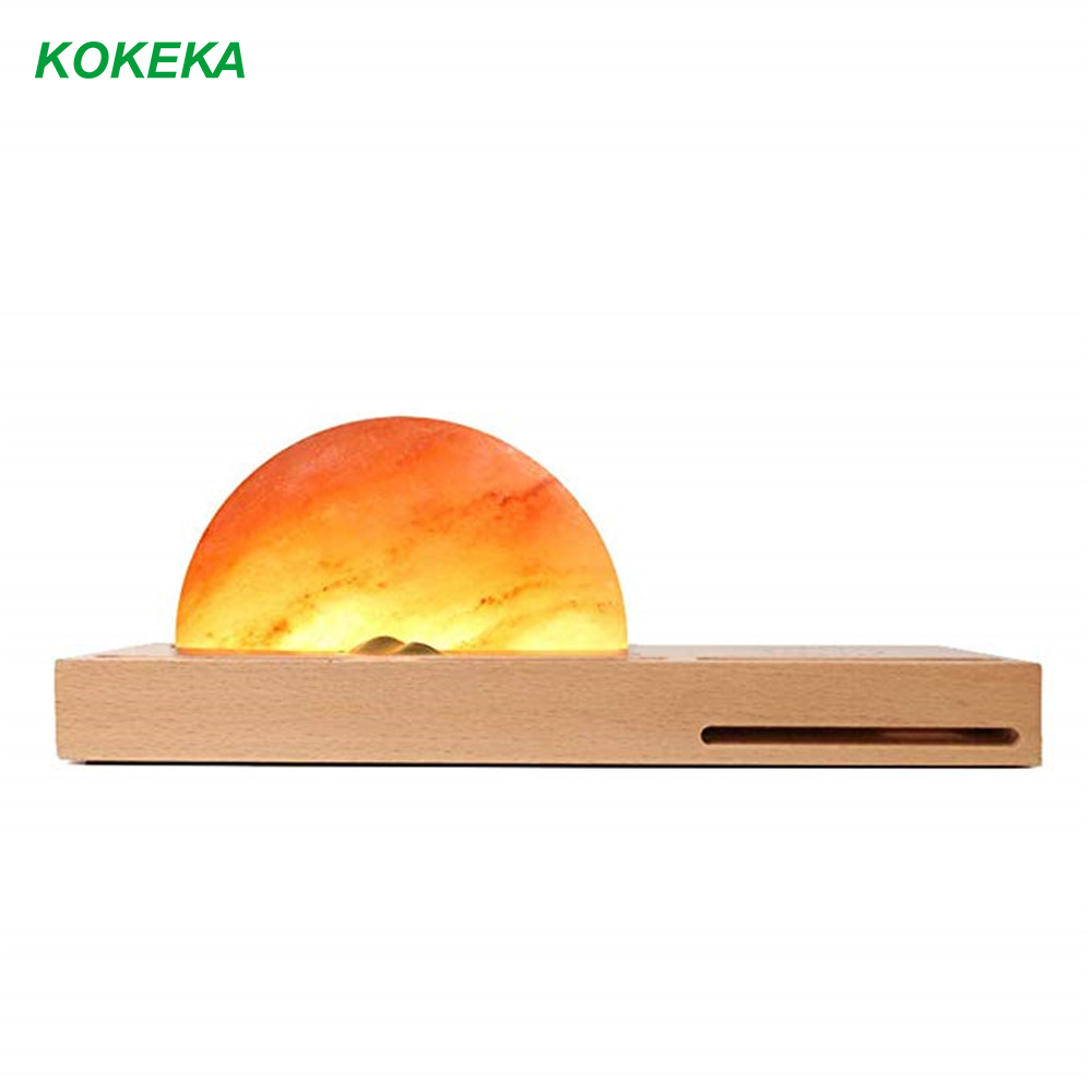 Night Lamp Salt Lamp with Himalayan Salt Wireless Charger Dimmable Brightness Sound Amplifier Mobile Phone Holder Pen Holder
