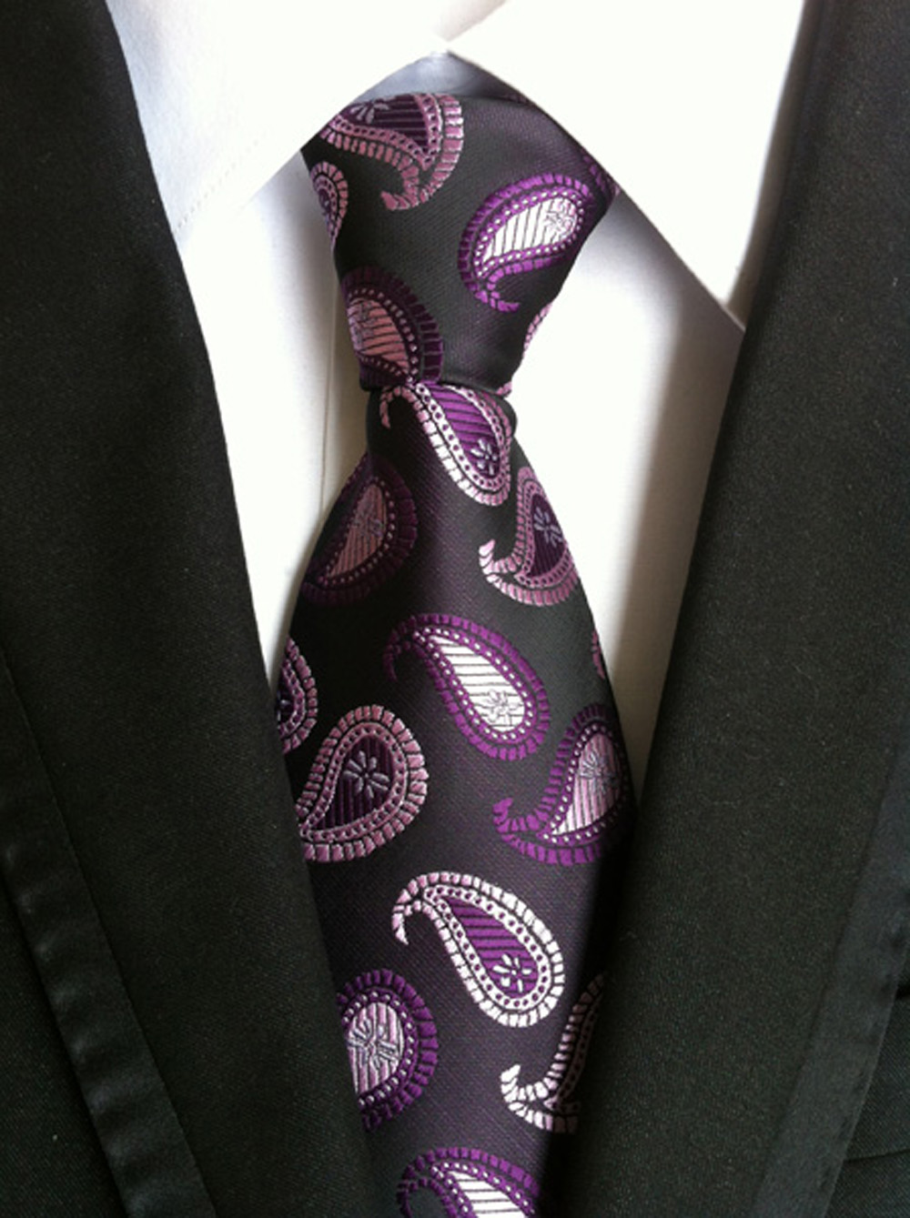 New Mens Classic Silk Tie Necktie Purple Paisley JACQUARD Best Man Wedding gift