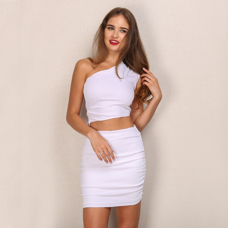 One Shoulder 2 Piece White Bodycon Dress 1