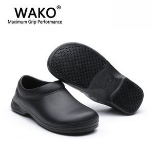 Image 5 - WAKO זכר שף נעלי גברים סנדלי עבור מטבח עובדים סופר אנטי ללא החלקת נעליים שחור לבשל נעלי בטיחות כפכפים גודל 36 45