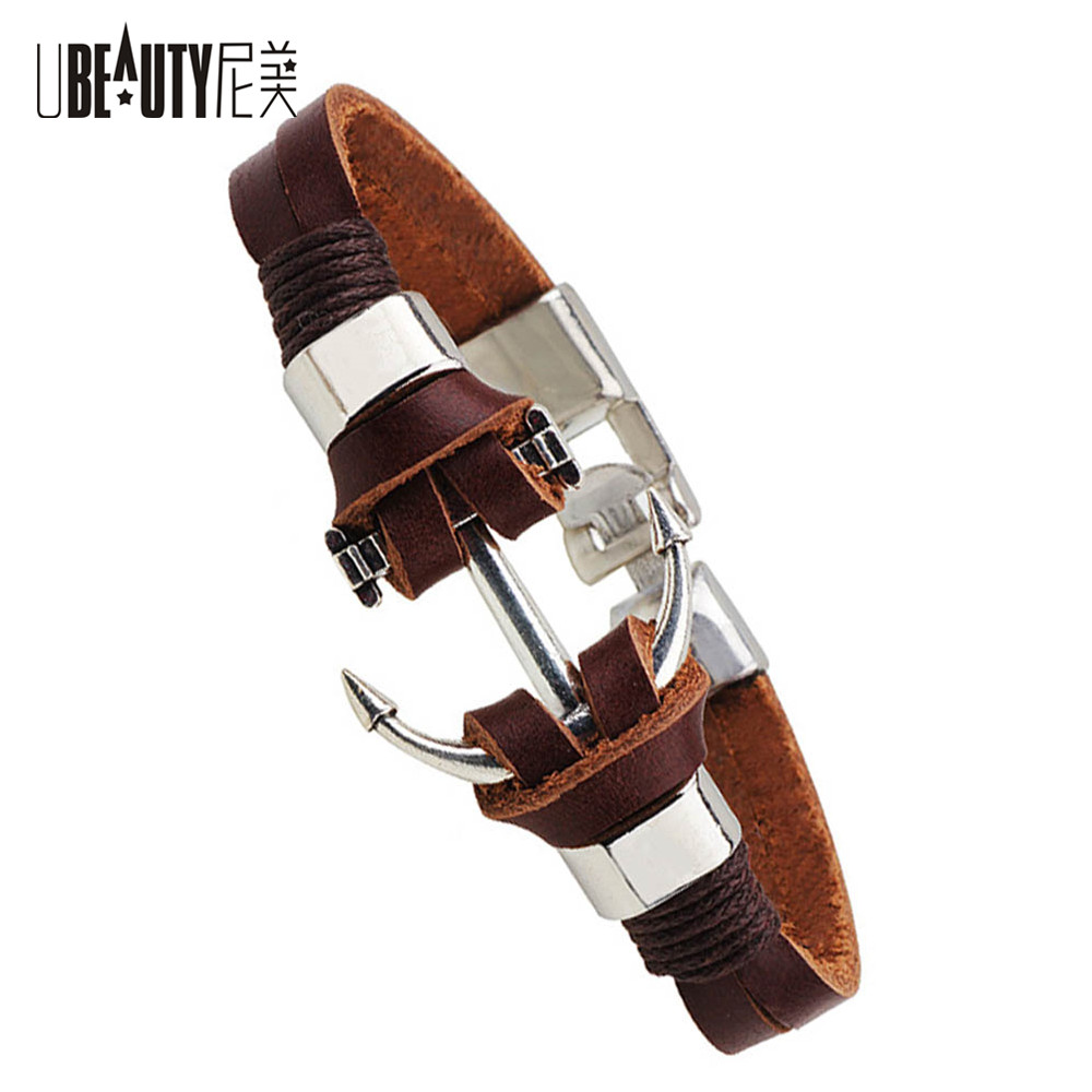 Men Genuine Leather Handmade Bracelet For Men Charm Jewelry Cowboy Style Punk Bracelets Bangles Alloy Anchor