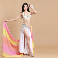 2016 High Quality Women Belly Dance Costume Set 3 Pcs Bra Skirt Belt Lady Dancing Dress