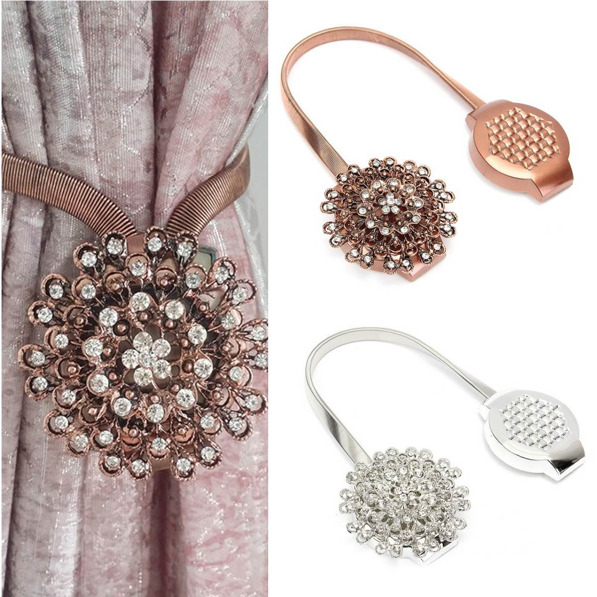 Curtain tie back clips - Magnetic Curtain Tiebacks Clips Crystal Bronze Silver Flower Spring Holdbacks Curtain Buckles Curtain Accessories China