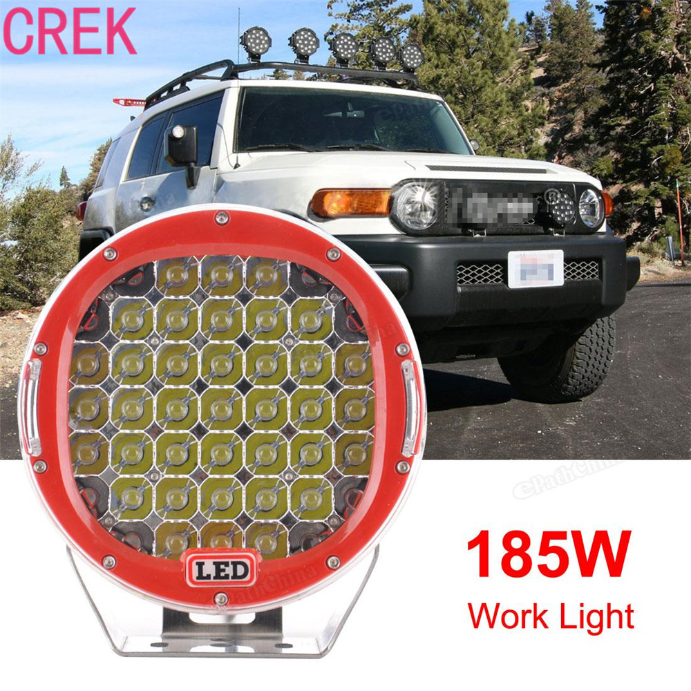 Crek 9inch 185W 13300LM LED Round Car Work Lights Car Driving Daytime Running Light Spot Car Offroad Truck 4WD Driving Lamp