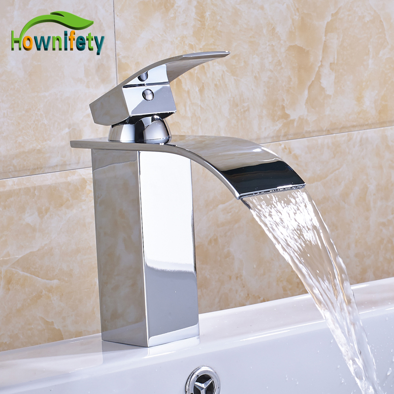 Solid Brass Chorme Bathroom Basin Faucet Waterfall Spout Faucet Single Lever Countertop Vessel Sink Tap solid brass single handle waterfall spout bathromm sink faucet countertop basin mixer tap antique brass