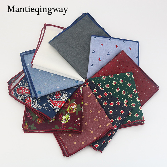 c5ca0456de4a Mantieqingway Men's Cotton Pocket Square Western Style Floral Handkerchief  for Suit Pocket Wedding Square Paisley Hanky