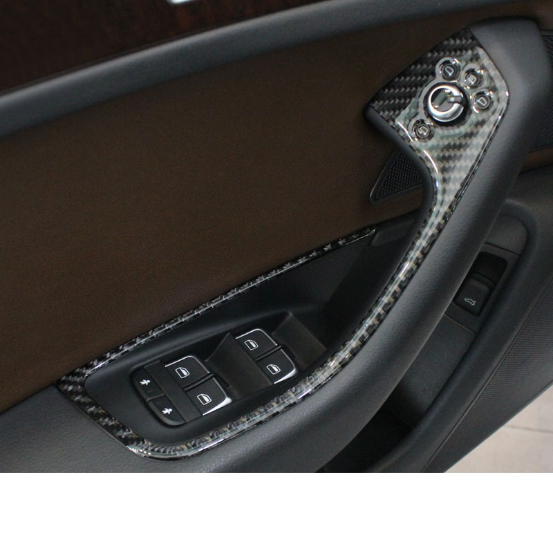 Lsrtw2017 Carbon Fiber Car Window Control Panel Trims For