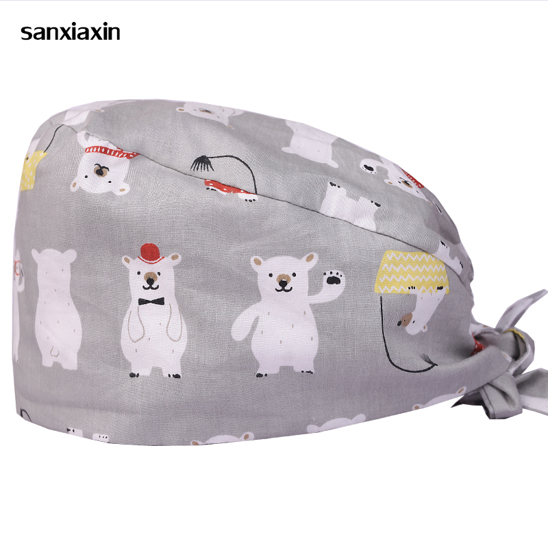 Hospital  Cap Dental Male And Female Doctor Nurse Cotton Printing Operating Room Work Cap Surgical Cap
