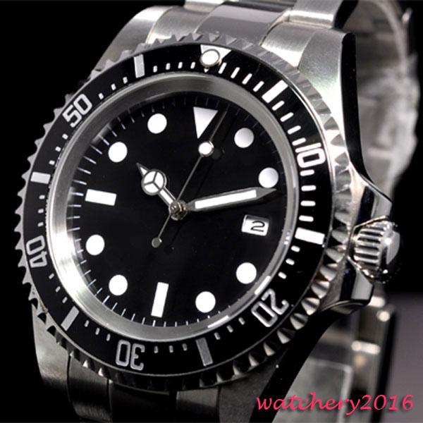 42mm parnis black sterile dial luminous marks date window vintage SEA automatic movement men s Watch