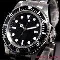 42mm parnis schwarz sterile zifferblatt luminous marks datum fenster vintage MEER automatische bewegung herren Uhr