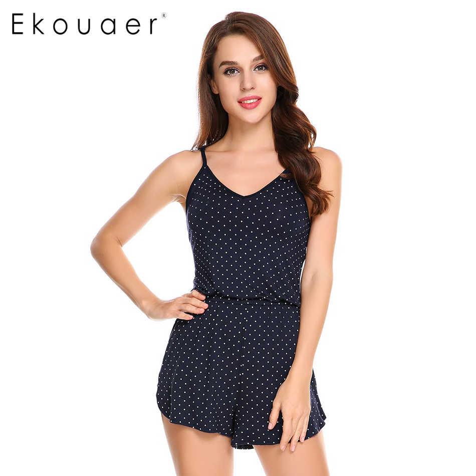 2e9bad64c Ekouaer Women Sleepwear V-Neck Adjustable Spaghetti Straps Dot Short  Sleepwear Jumpsuit Rompers Summer Sleepless
