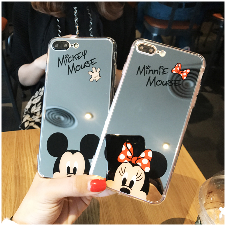 HTB1JsFwbamgSKJjSsplq6yICpXaN - Minnie Mickey Mouse Mirror Case for iPhone 6 s 6S X 10 7 8 Plus 6Plus 6sPlus 7Plus 8Plus SE 5S Cover silicone PTC 333