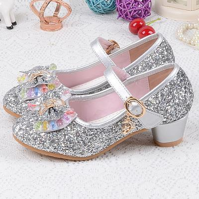 Qloblo S Leather Wedding Shoes Baby Children Sequins Princess Enfants Kids High Heels Dress Party