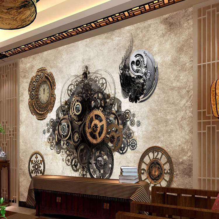 Photo wallpaper Retro industrial metal gear 3D Wallpaper Bar Cafe  background wall clock bedroom clothing store wallpaper mural-in Wallpapers  from Home ...