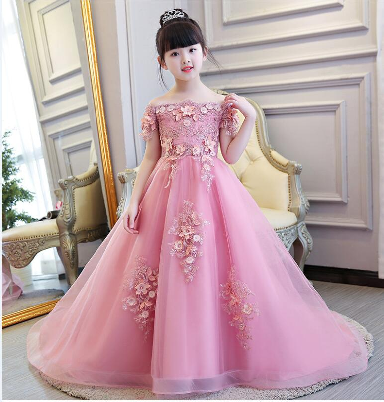 Glizt Bead Appliques Flower Girl Wedding Dresses Long Trailing Girl Party Princess Birthday Dress First Communion
