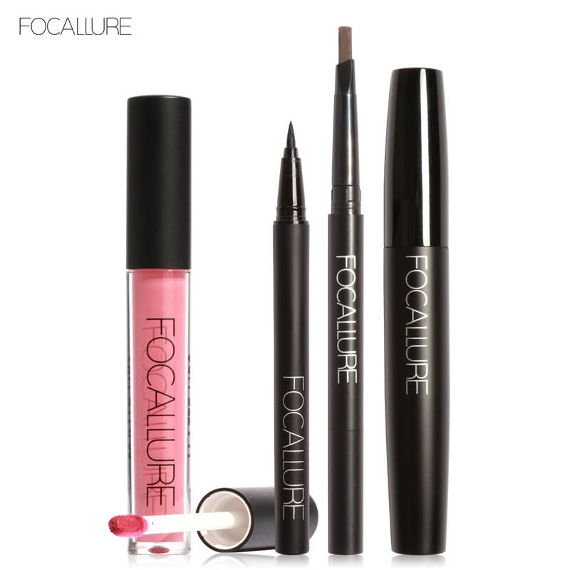 где купить FOCALLURE New 4Pcs Easy Lip Makeup Black Eyeliner Pencil Matte Liquid Lipstick Eyes Mascara Black Colors Eyeliner and Eyebrow дешево