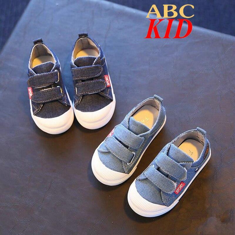2017 Весной Детская Обувь Chaussure Enfant Джинсы Холст Обувь Пряжки Ремень Sapato Infantil Menina Детская Обувь KD300
