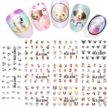 11designs Lovely Dog Animals Pattern Water Nail Tattoo Transfer Nail Decal Sticker DIY Manicure Beauty tools #LABLE2292 2302
